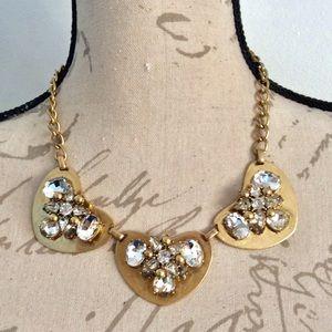 J.CREW Triple Heart Crystal Necklace